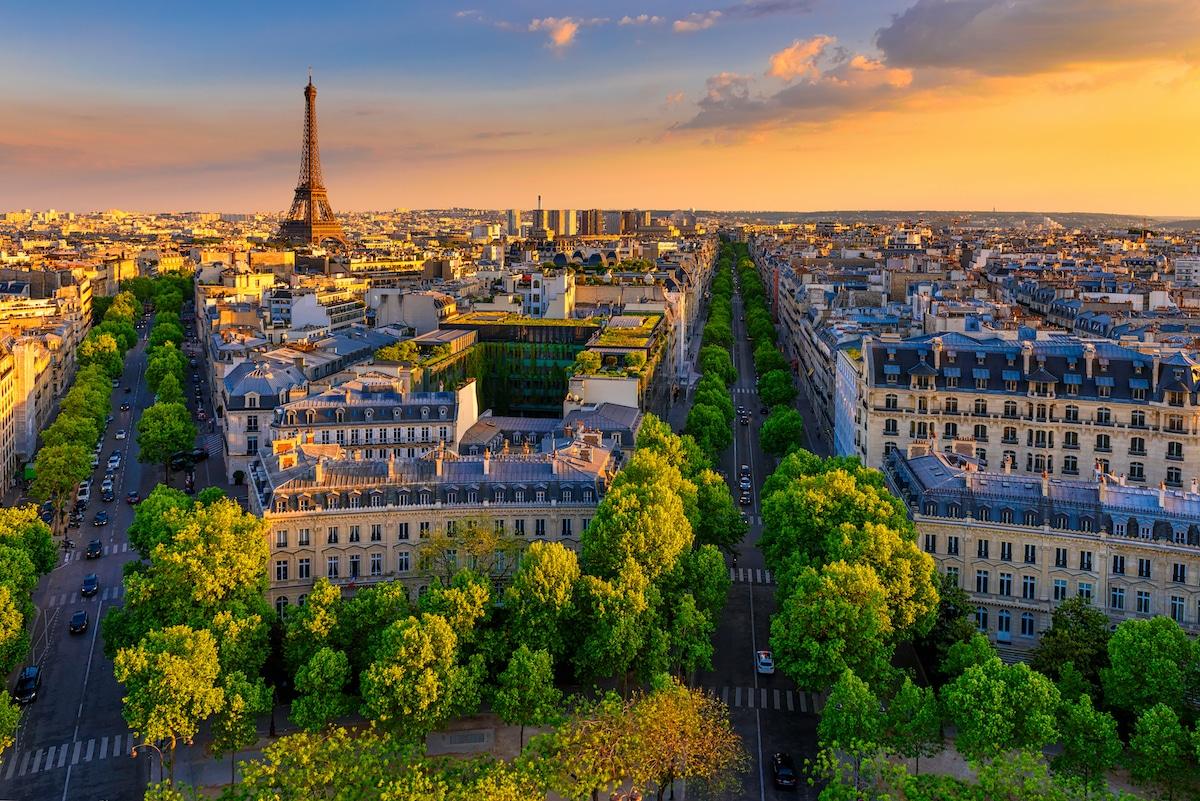 Vue aérienne des immeubles de Paris avec la Tour Eiffel à l'horizon